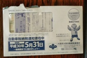 大阪府の自動車税納付通知書